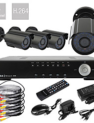 4CH D1 em tempo real H.264 600TVL High Definition CCTV DVR Kit (4 impermeável da noite do dia Câmeras CMOS)