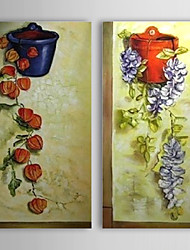 Hand Painted Oil Painting Floral Bossom Flowers Set of 2 with Stretched Frame 1307-FL0192