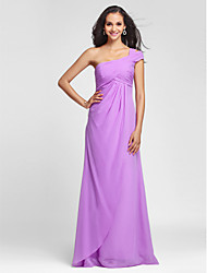 Lanting Bride Floor-length Chiffon Bridesmaid Dress Sheath / Column One Shoulder Plus Size / Petite with Side Draping / Criss Cross