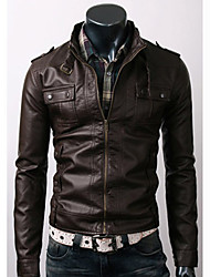 Men's PU Leather Stand Collar Short Jacket