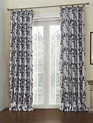(Two Panels) Grey Leaves Lined Blackout Curtain
