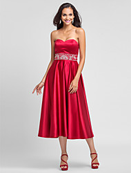Lanting Bride® Tea-length Satin Bridesmaid Dress - A-line / Princess Strapless / Sweetheart Plus Size / Petite with Beading / Embroidery