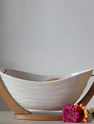 Natural compota de frutas da porcelana com suporte de bambu