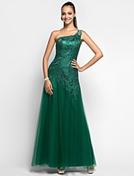 Sheath / Column One Shoulder Floor Length Lace Tulle Prom Dress with Beading by TS Couture®