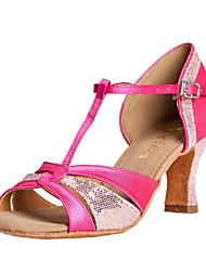 Customizable Women's Dance Shoes Latin/Ballroom Satin/Sparkling Glitter Customized Heel Fuchsia