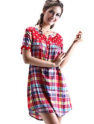 Vestido del patrón del cheque SHINEROSE algodón de manga corta