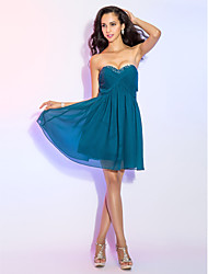 TS Couture® Cocktail Party Dress - Short Plus Size / Petite A-line Sweetheart Knee-length Chiffon with Beading / Criss Cross