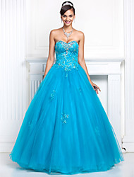 A-Line Princess Strapless Sweetheart Floor Length Tulle Prom Quinceanera Dress with Beading by TS Couture®