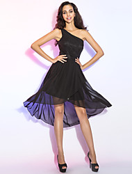 Sheath / Column One Shoulder Asymmetrical Chiffon Cocktail Party Dress with Draping Side Draping by TS Couture®