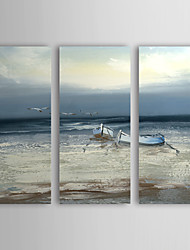 Hand Painted Oil Painting Landscape Vessel and Sea with Stretched Frame Set of 3 1307-LS0381