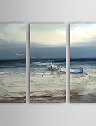 Ручная роспись Пейзаж / Абстрактные пейзажи 3 панели Холст Hang-роспись маслом For Украшение дома