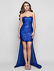Sheath / Column Sweetheart Asymmetrical Sequined Formal Evening Dress with Sequins