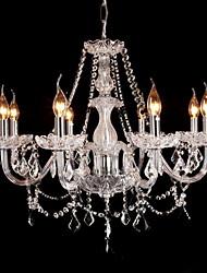 Lustre Estilo Palácio para 8 luzes com Lâmpadas em Formato de Vela