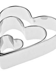 En forma de corazón del acero inoxidable de la galleta Cortadores de ajuste (3-Pack)