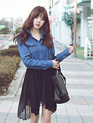 Women's Black/White Chiffon/Denim Dress , Casual Long Sleeve