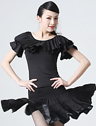 Dancewear Fashion Viscose Latin Dance Outfit Top and Skirt with Ruffles for Ladies(More Colors)