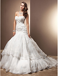 Mermaid / Trumpet Sweetheart Chapel Train Lace Organza Wedding Dress by LAN TING BRIDE®