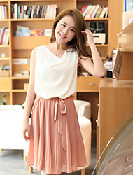 Women's Contrast Color Cowl Collar Dresses With Belt