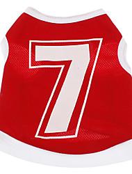 Dog Shirt / T-Shirt Red Dog Clothes Summer Letter & Number