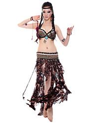 Desempenho Tulle Dancewear Bonita Com Beading barriga Outfits dança para senhoras (mais cores)