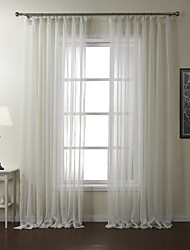 (Two Panels) Modern Stripe Polyester Sheer Curtain
