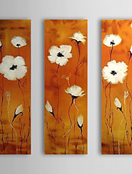 Hand Painted Oil Painting Floral White Flowers Set of 3 with Stretched Frame 1307-FL0191