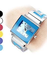 reloj de las mujeres del análogo de cuarzo de estilo g esfera de plata banda de acero pulsera (colores surtidos)