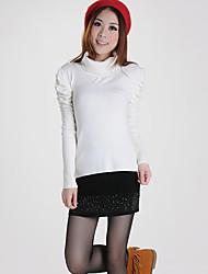 LanShanhu Süße Puff Sleeve Wool Bodenbildung Shirt (weiß)