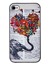 Elephant Holding Flowers Coloured Drawing Pattern Black Frame PC Hard Case for iPhone 4/4S