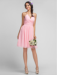 Lanting Bride® Knee-length Chiffon Bridesmaid Dress - Sheath / Column Halter / V-neck Plus Size / Petite with Criss Cross