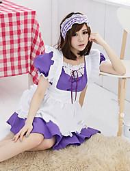 Cute Girl branco avental roxo Polyester Maid Uniform