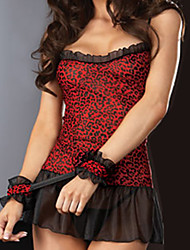 Hot Girl Red and Black Leopard Sexy Uniform