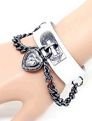 Heart Lock White PU Leather Punk Bracelet