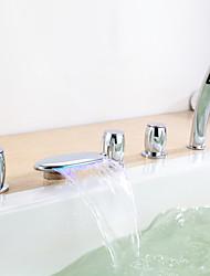 Contemporaine Trois poignées Robinet de baignoire LED avec douche à main