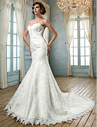 Trumpet/Mermaid Plus Sizes Wedding Dress - Ivory Chapel Train Strapless Lace