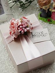 Belle boîte Cuboid rose de faveur de fleurs et de ruban - Lot de 30 (Tag non inclus)