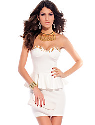 Women's Formal Sexy Sheath Dress,Solid Strapless Mini Sleeveless White Polyester Summer