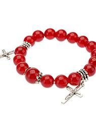 Garnet Cross Bracelet