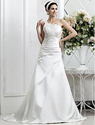Lan Ting A-line Plus Sizes Wedding Dress - Ivory Sweep/Brush Train One Shoulder Satin