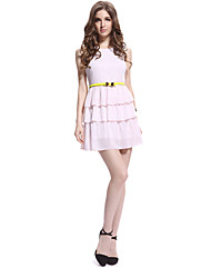 Chiffon Dress Incl. volante de ACOM NO.9 mujeres. Cinturón