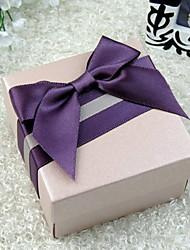 Elégante boîte de faveur Cuboid avec Violet Ribbow bowknot (Set of 30)