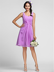 Lanting Bride® Knee-length Chiffon Bridesmaid Dress - Sheath / Column Sweetheart / Straps Plus Size / Petite with Lace / Criss Cross