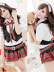 Nifty Girl White Cotton Top Red Terylene Plaid Skirt School Uniform with Vest