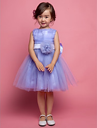 A-line / Ball Gown / Princess Knee-length Flower Girl Dress - Satin / Tulle Sleeveless Scoop with Bow(s) / Flower(s)