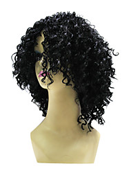 Top Grade Synthetic Black Medium Wavy Wig For American Ladies