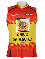Kooplus2013 Championship Jersey Spain 100% Polyester Wicking Fibers Sleeveless Cycling Vest with Reflective Tape