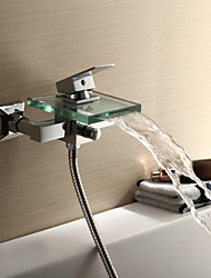 Waterfall Tub Faucet with Glass Spout (Wall Mount)