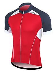 SANTIC Men's Cycling Road Bike 100% Polyester Fiber T-Shirt(Red)