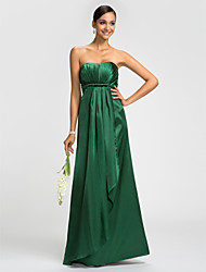 Lanting Dress - Dark Green Plus Sizes / Petite Sheath/Column Strapless Floor-length Stretch Satin