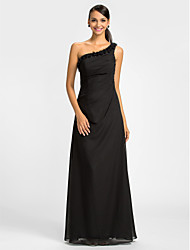 LAN TING BRIDE Floor-length One Shoulder Bridesmaid Dress - Little Black Dress Sleeveless Chiffon